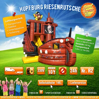 Hupfburg mieten Rutsche